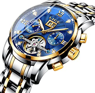 Mens Watches Fashion Leather Analog Quartz Watch Men Sport Waterproof Chronograph Luxury Brand LIGE Casual Blue Date Watch…