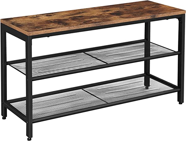 VASAGLE Shoe Bench Shoe Rack With 2 Mesh Shelves Shoe Storage Organizer For Entryway Hall Metal Industrial Rustic Brown ULBS74X