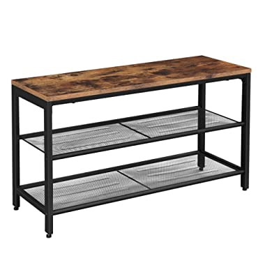 VASAGLE Shoe Bench, Shoe Rack with 2 Mesh Shelves, Shoe Storage Organizer for Entryway Hall, Metal, Industrial, Rustic Brown ULBS74X