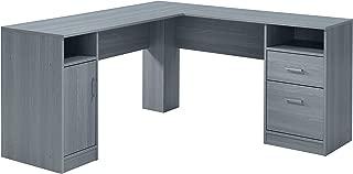 Techni Mobili RTA-8412L-GRY Functional Storage L-Shaped Computer Desk, Grey