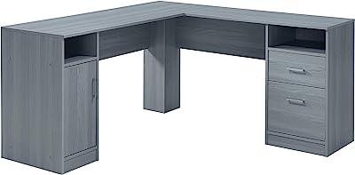 Techni Mobili Functional Storage L-Shaped Computer Desk, Grey