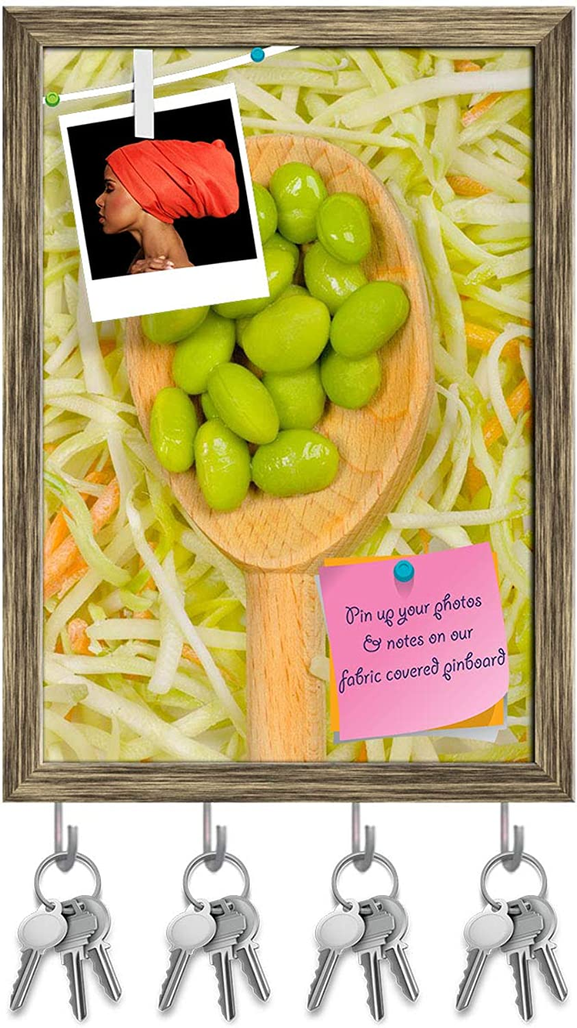 Artzfolio Spoonful of Soybeans On A Bed of Broccoli Key Holder Hooks   Notice Pin Board   Antique golden Frame 10 X 14.1Inch