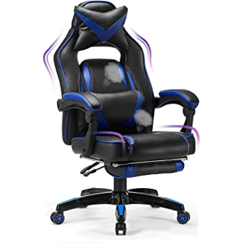 Kealive Gaming Chair Reclining Racing Chair, Ergonomic Office Chair with Breathable PU Leather and High Back, Adjustable Swivel Computer Chair with Footrest Headrest and Lumbar