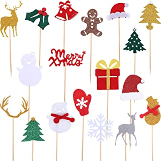 Gejoy 18 Pieces Christmas Cake Toppers Picks Glitter Cake Toppers Felt Topper Sticks for Christmas Birthday Party Supplies, 18 Styles