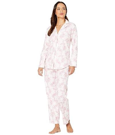 LAUREN Ralph Lauren Petite Classic Wovens Long Sleeve Pointed Notch Collar Long Pants Pajama Set (Ivory Print) Women
