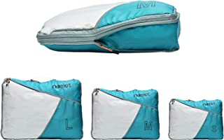 riemot 3 Set Compression Packing Cubes for Travel, Packing Organizer for Luggage, Suitcase Storage Bags Turquoise