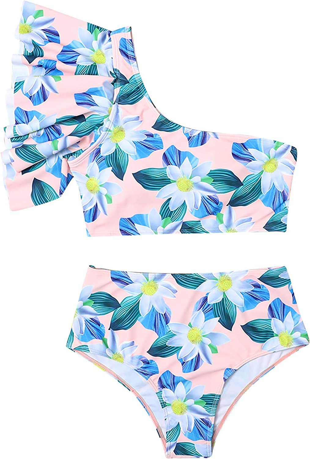 Women's New Split Swimsuit Ruffle Sexy Special Printed Swimsuit