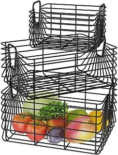 UMI Amazon Brand Lot de 3 boîtes de rangement en métal avec poignées pour armoire de cuisine, salle de bain, buanderie, jo...