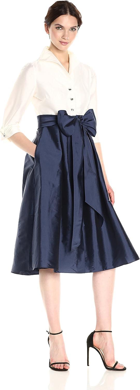 Adrianna Papell Womens Two Tone Silky Taffetta Shirt Dress with Bow Detail Dress