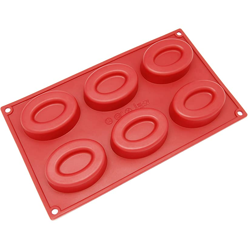 Freshware SL-132RD 6-Cavity Oval Ring Silicone Mold for Soap, Cake, Bread, Cupcake, Cheesecake, Cornbread, Muffin, Brownie, and More
