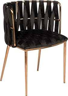 Statements by J 1538DC-BLK Milano Velvet Counter Chair, 29.5 Inch Tall, Black and Gold