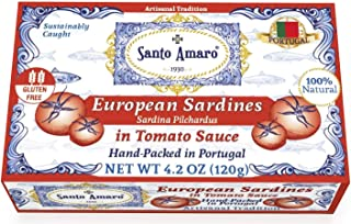 SANTO AMARO European Wild Sardines in Tomato Sauce from Puree (12 Pack, 120g Each) IBERIA STYLE! 100% Natural - Wild Caught Sardines – GMO FREE - Keto - Paleo - Hand Packed in PORTUGAL