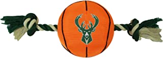 Pets First NBA MILWAUKEE BUCKS Basketball Toy. - Tough Nylon Pet Toy with Tug Ropes & inner Squeaker, one size (BUK-3105)