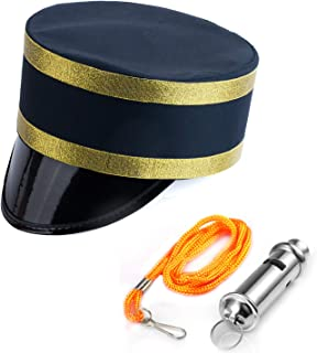 Tigerdoe Conductor Hat - Train Engineer Costume - Hat and Whistle - Costume Hats for Adults - Railroad Party - 2 Pc Set