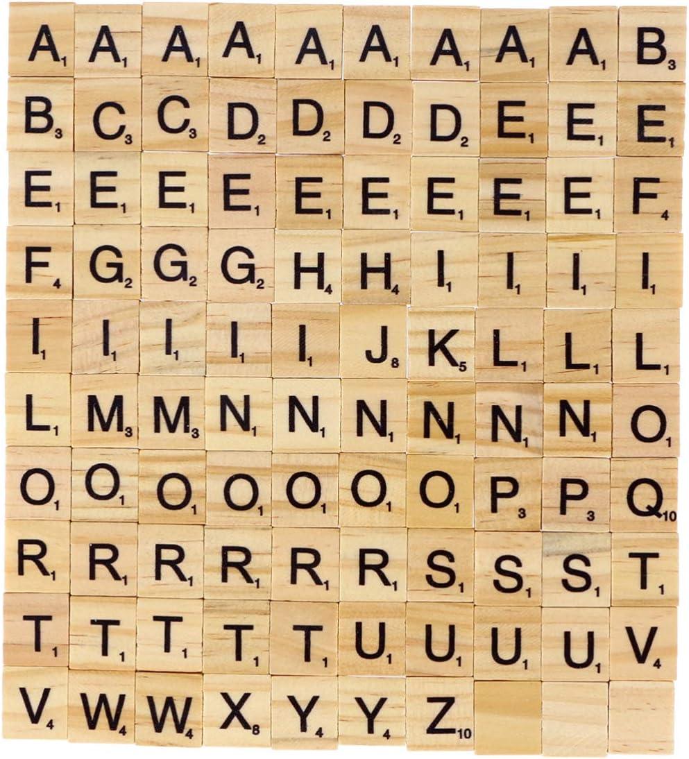 ULTNICE 100 azulejos de madera para letras de Scrabble A-Z, letras mayúsculas, juguete educativo para manualidades, colgantes de ortografía alfabeto posavasos