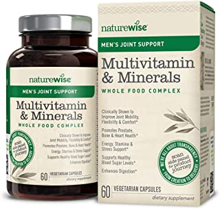 NatureWise Men's Whole Food Multivitamin with Joint Support   Vitamins, Minerals, Organic Whole Foods + UC-II Collagen Improves Joint Mobility & Comfort (Watch Video in Images) [1 Month - 60 Count]