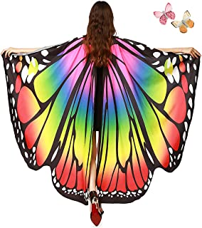 Women Butterfly Wings Shawl - Fairy Ladies Cape Halloween Dress Up Costume Accessory
