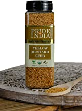 Pride Of India- Organic Yellow Mustard Seed Whole - 24 oz (680 gm) Large Dual Sifter Jar - Authentic Indian Vegan Spice - ...