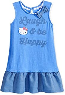 05aeafe31 Hello Kitty Litte Girl Embroidered Graphic Cotton Dress Size 4 Blue/Pearl