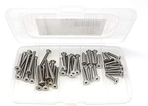 iExcell 50 Pcs M4 x 20mm / 25mm / 30mm / 35mm /40mm Stainless Steel 304 Hex Socket Flat Head Cap Screws Bolts Kit