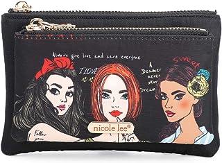 Nicole Lee Doulble - Organizador de tarjetas de crédito con cremallera, tamaño pequeño, con llavero