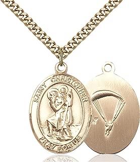 14KT Gold Filled Catholic Saint Military Medal Pendant, 1 Inch