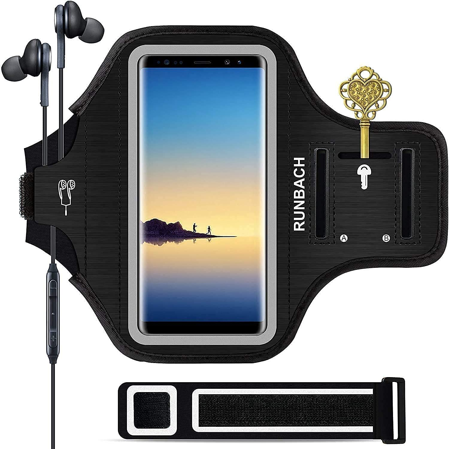 RUNBACH Galaxy Note 20/10+/9/8 Armband,Sweatproof Running Exercise Bag with Fingerprint Touch/Key Holder and Card Slot for Galaxy Note 20/10+/9/8(Black)