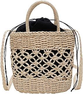 TOOGOO Fashion Casual Summer Women'S Fashion Handbags Personalized Straw Hollow Bag Shoulder Portable Drawstring Square Travel Bag Beige