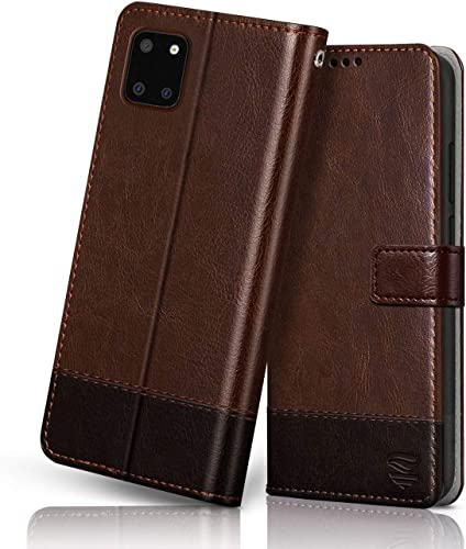 FLIPPED Hand Stitched Vegan Leather Shock Proof TPU Bumper And Card Pockets Magnetic Closure Flip Case Cover For Samsung Galaxy Note 10 Lite Brown With Coffee