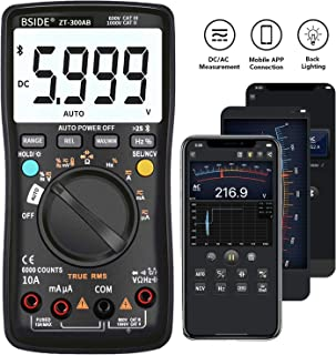 BSIDE Wireless Digital Multimeter True RMS Manual/Auto Ranging 6000 Counts DMM Capacitance Temperature Amp Ohm Diode Duty ...