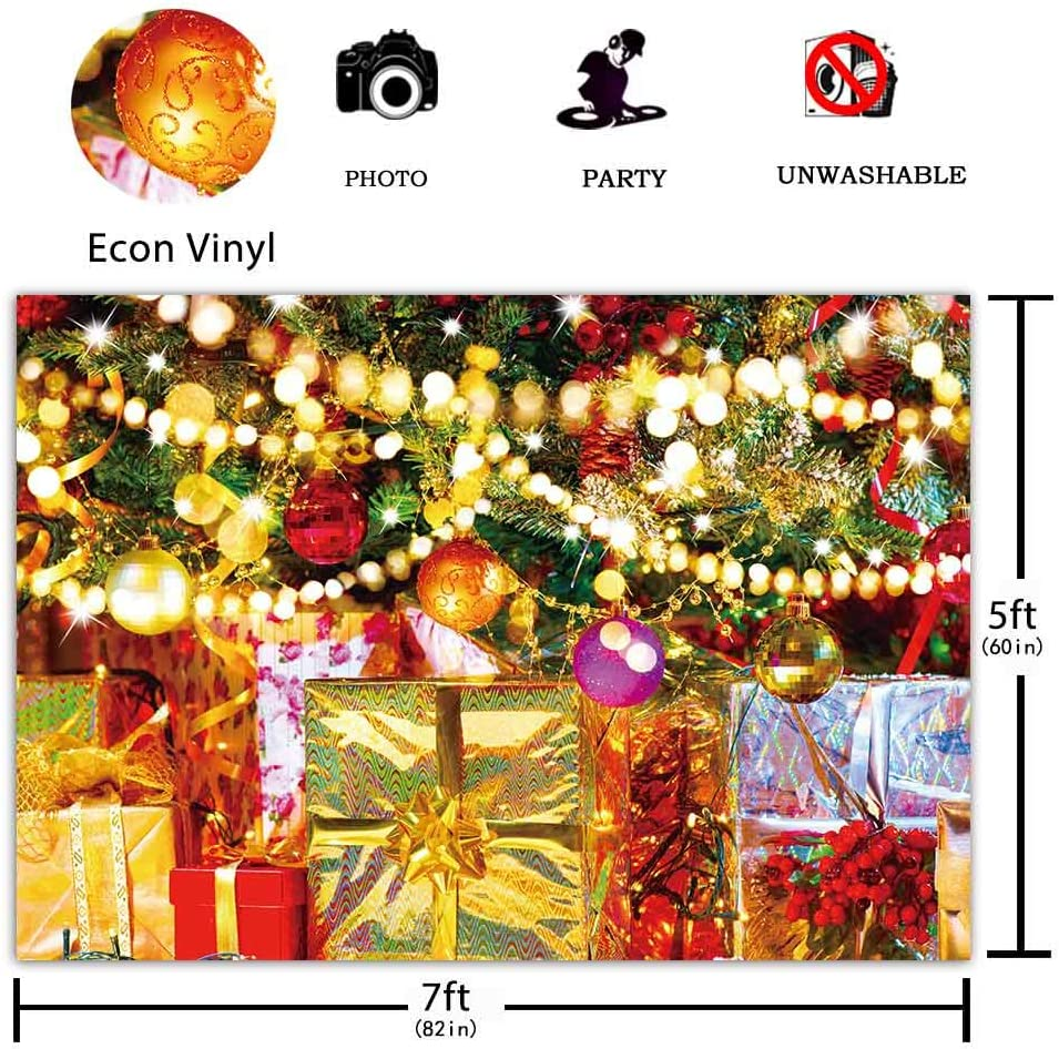 Funnytree 10x8ft Durable Fabric Photography Backdrop No Wrinkles Winter Merry Xmas Background Night Glitter Bokeh Sequin Portrait Party Decorations Banner Photo Booth Studio Props