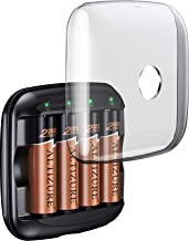 ALTIZURE 15 Minutes Full,20000 Cycles Rechargeable AA Battery Charger with 4 AA Rechargeable Lithium Ion Batteries