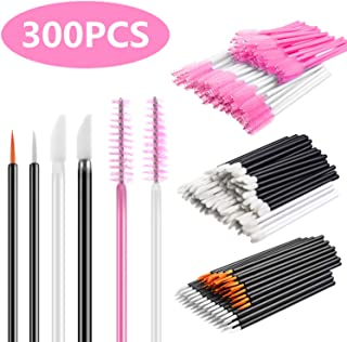 INFILILA Disposable Makeup Applicators Kit-100pcs Lip Applicators,100pcs Mascara Wands,100pcs Eyeliner Brushes 300PCS Makeup Brushes 6 Styles