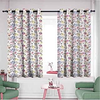Mannwarehouse Blackout Window Drapes, Thermal Insulated Rod Pocket Curtain Tea Party Colorful Dotted Pattern with Hand Drawn Monochrome Candies Cookies and Teacups Multicolor