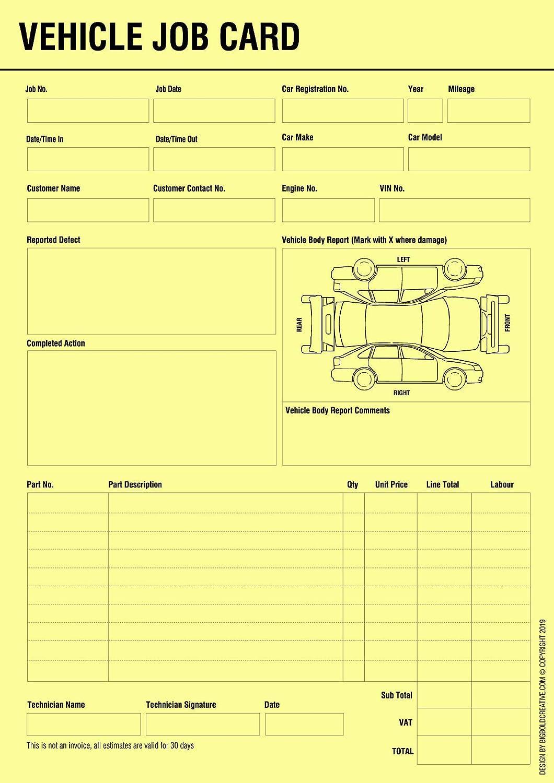 BIGBOLD CREATIVE Vehicle Service Repair Job Work Card Record Sheet Within Mechanics Job Card Template