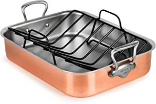 Mauviel Brushed Copper Roasting Pan - Made in France - Stainless Steel Handles, 16x12