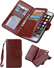 iPhone 5S/SE Wallet Case, HYSJY Magnetic Detachable PU Leather Wallet Purse For Women Men with Strap , Credit card Slots, Card Holer,Flip Slim Cover Case Fit iPhone 5/5S/SE (CARD-Brown)