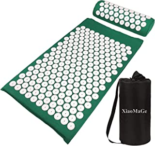 Yoga Acupressure Mat and Pillow Set with Bag - Extra Long 28.7 X 16.5 inch Massage Acupuncture Mat - Naturally Relax Back,...