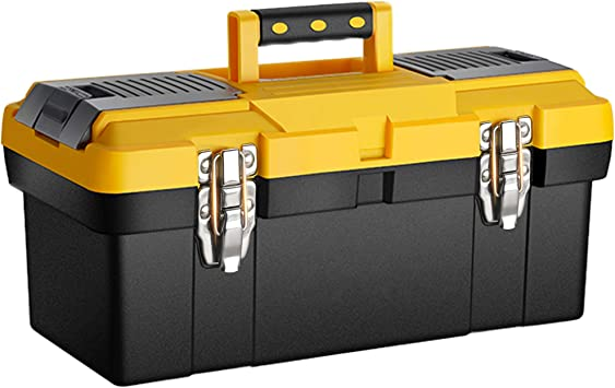 Anyyion 16.5-Inch Toolbox with Removable Tray with Stainless Steel Dual Lock Secured ,Truly Strong and Durable (Black): image