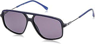 نظارة شمسية مستطيلة للرجال من لاكوست بتصميم لا ستاريبس اند بايبينغ بلون اسود