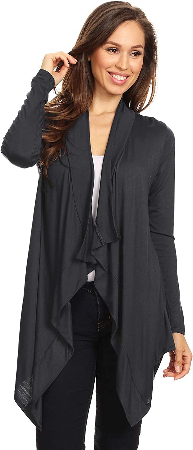 Women's Casual Striped Thick Knit Loose Draped Cardigan Made in USA