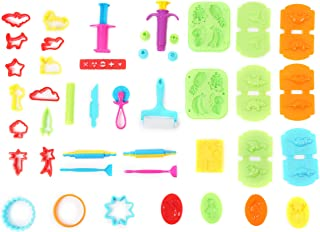 Ludos 37 Piece Play Dough Tools Set- Including Playdough Playset Accessories, Dinosaur, Food & Animal Molds, Cookie Cutters, Rolling Pins. Tool Kit with Many Models. Mini Party Pack for Kids
