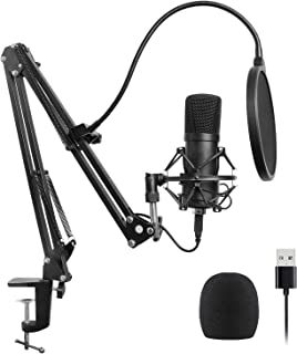 JVSISM USB Microphone Kit USB Computer Cardioid Mic Podcast Condenser Microphone with Professional Sound Chipset for Pc Ka...