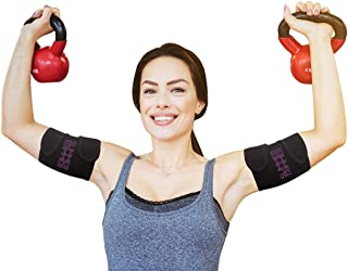 Slimmer Trimmer Premium Arm Trimmers - Pair of Weight Loss Sweat Arm Trainers for Women + Men Thermal Arm Slimming Wraps. Arms Fat Burner Trainer Bands, Exercise Enhancer Sweating (L-XL (up to 18