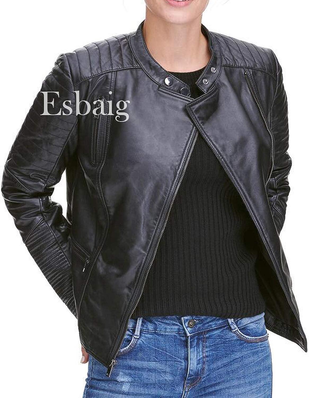 ESBAIG Womens Leather Jackets Stylish Motorcycle Bomber Biker Real Lambskin Leather Jacket for Women 556
