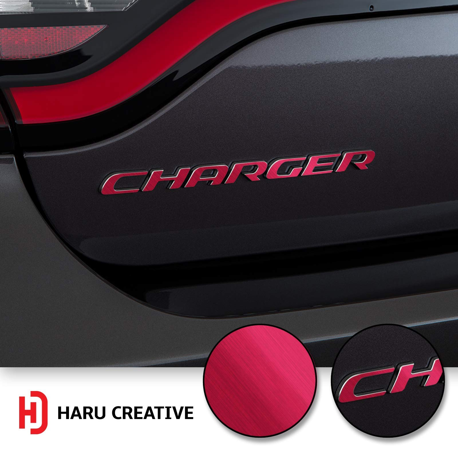 Metallic Matte Chrome Red Loyo Haru Creative Rear Bumper Trunk Emblem Overlay Vinyl Car Decal Sticker Compatible with and Fits Dodge Charger 2015 2016 2017 2018 2019