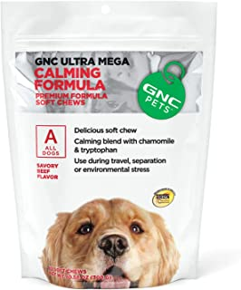GNC Pets Ultra Mega Calming Soft Chews for Dogs, 60 Count - Beef Flavor | Use for Separation, Travel, and Environmental St...