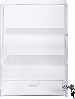 Display Case with Locking Slide Up Back Door | Acrylic Case (SD212 (w/2 Shelves) - 21-3/4H x 13-1/4W x 7-1/2