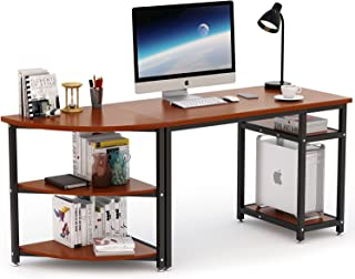 Computer Desk with Storage Shelves, LITTLE TREE 47 inch Gaming Desk & 23 inch Arch Corner Shelf, Writing Office Desk Workstation Table for Home Office, Free-Combination 2 Piece