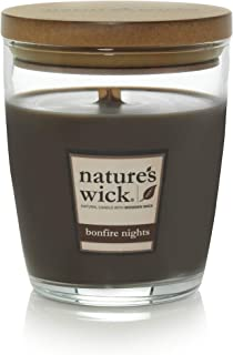 Nature's Wick Bonfire Nights Scented Candle|10 oz. Jarred Candle|Natural Wood Wick Candle with up to 65 Hour Burn Time